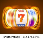golden slot machine wins the... | Shutterstock .eps vector #1161761248