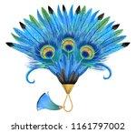 Blue Feather Fan