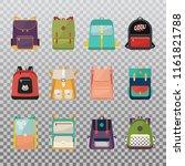set of kid rucksack or children ... | Shutterstock .eps vector #1161821788