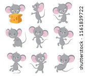 cartoon mouse. gray mice in... | Shutterstock .eps vector #1161839722