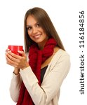 Beautiful Young Woman With Cup...
