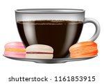 coffee cup with macarons.... | Shutterstock .eps vector #1161853915