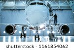 brand new airplane standing in... | Shutterstock . vector #1161854062