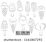 ice cream and popsicles cute... | Shutterstock .eps vector #1161867292