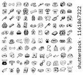 hand drawn doodle pets stuff... | Shutterstock .eps vector #1161867322