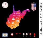 west virginia vector map  night ... | Shutterstock .eps vector #1161868885