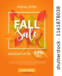 autumn sale background with... | Shutterstock .eps vector #1161878038
