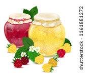 raspberry jam. blackberry jam.... | Shutterstock .eps vector #1161881272