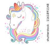 white unicorn head vector... | Shutterstock .eps vector #1161891148