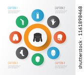 physique icons set with face ... | Shutterstock .eps vector #1161898468