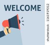 welcome announcement. hand... | Shutterstock .eps vector #1161919312