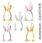 set 5 easter hangtags eggs... | Shutterstock . vector #1161927478