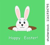 easter rabbit in hole on green... | Shutterstock . vector #1161934795