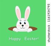easter rabbit in hole on green... | Shutterstock . vector #1161934795