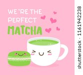 cute matcha cup and macaron... | Shutterstock .eps vector #1161942238