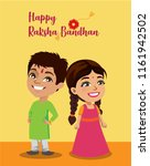 an indian boy and his sister... | Shutterstock .eps vector #1161942502