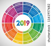 colorful round calendar 2019... | Shutterstock .eps vector #1161957682