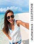 beach selfie young asian woman... | Shutterstock . vector #1161959248