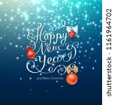 blue shiny happy new year and... | Shutterstock .eps vector #1161964702