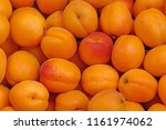 close up of apricots on market | Shutterstock . vector #1161974062