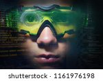 portrait of a boy with green... | Shutterstock . vector #1161976198