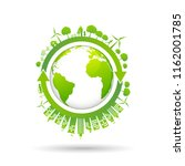 ecology concept with green city ... | Shutterstock .eps vector #1162001785