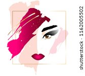 girl with pink hair. abstract... | Shutterstock .eps vector #1162005502