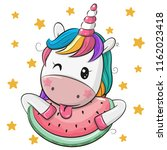 cute cartoon unicorn with... | Shutterstock .eps vector #1162023418