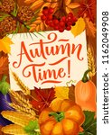 autumn time quote poster for... | Shutterstock .eps vector #1162049908