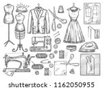 tailor or dressmaker work and... | Shutterstock .eps vector #1162050955
