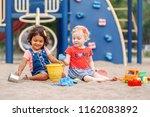 summer mood. two cute caucasian ... | Shutterstock . vector #1162083892