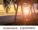 sunset over the tropical beach...   Shutterstock . vector #1162094845