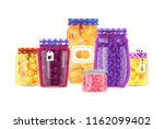 canning products vector jars... | Shutterstock .eps vector #1162099402