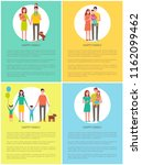 happy family set vector banner... | Shutterstock .eps vector #1162099462