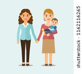 lesbian family with child.... | Shutterstock .eps vector #1162116265