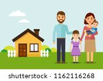 happy family move into a new... | Shutterstock .eps vector #1162116268