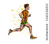 running marathon  people run ... | Shutterstock . vector #1162126312