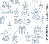 seamless pattern with christmas ... | Shutterstock .eps vector #1162137568