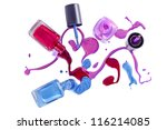 bottles with spilled nail... | Shutterstock . vector #116214085
