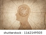 human head and compass. the... | Shutterstock . vector #1162149505