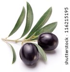 ripe two black olives with... | Shutterstock . vector #116215195