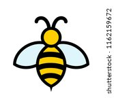 yellow and black bee icon logo... | Shutterstock . vector #1162159672