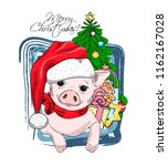 vector pig   santa claus in a... | Shutterstock .eps vector #1162167028