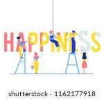happiness text design vector... | Shutterstock .eps vector #1162177918