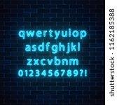 neon style font. glowing neon... | Shutterstock . vector #1162185388