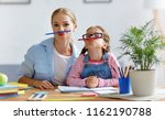 funny mother and child daughter ... | Shutterstock . vector #1162190788