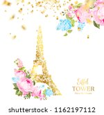 eiffel tower icon with golden... | Shutterstock .eps vector #1162197112
