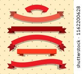set of red ribbons. flat style... | Shutterstock .eps vector #1162200628