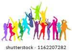 colorful people jumping and... | Shutterstock .eps vector #1162207282