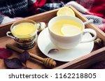 healthy ginger tea with honey ... | Shutterstock . vector #1162218805